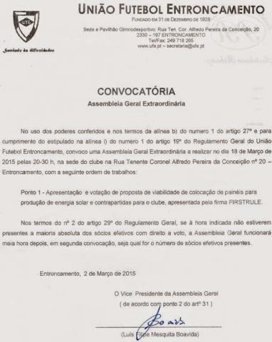 ASSEMBLEIA GERAL EXTRAORDINÁRIA - UNIÃO FE